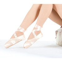 Girls Pointe Shoes Pink Ballet Shoe Leather Sole with Free Gel Silicone Toe Pads and Ribbons