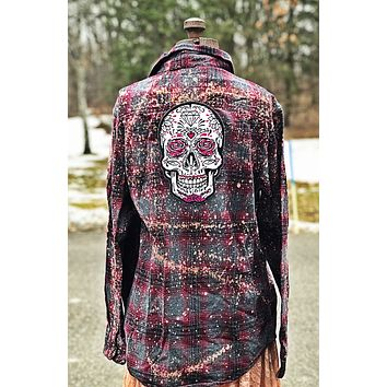 Embroidered Rose Skull Flannel Angry Minnow Vintage