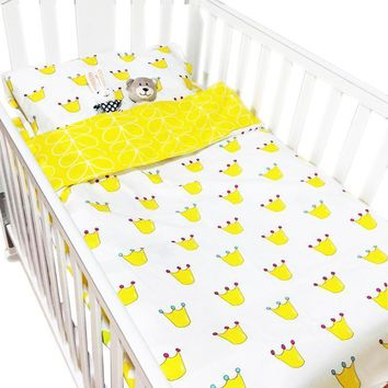 Giol Me Num Hot Ins crib bed 100% cottotton 3pcs baby Bedding set include pillow case+bed sheet+duvet cover without filling