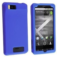Blue Silicone Rubber Gel Soft Skin Case Cover for For Motorola Droid X2 MB870 by Electromaster