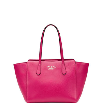 Swing Small Leather Tote Bag, Fuchsia - Gucci