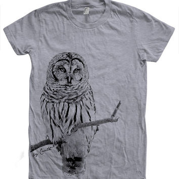 Women OWL Tshirt Custom Hand Screen Print American Apparel Crew Neck Available: S, M, L, XL, 2XL