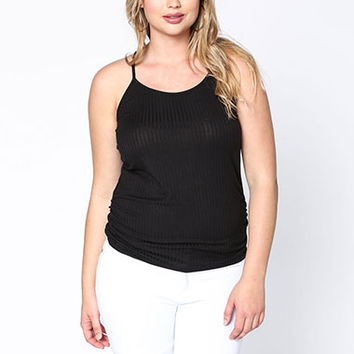 PLUS SIZE RUCHED RIBBED TANK TOP