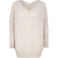 River Island Womens Cream V-neck sweater dress