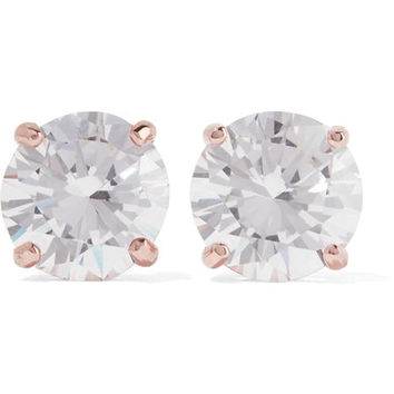 Kenneth Jay Lane - Rose gold-plated cubic zirconia earrings