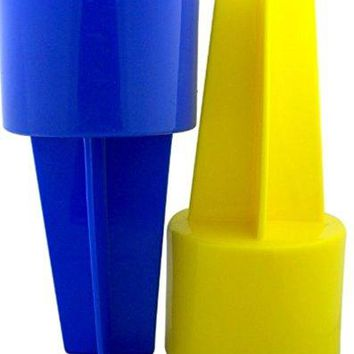 Spiker Two Pack 8 Inch Blue and Yellow Beach Drink Cup Holder Sand Coaster Made in the USA