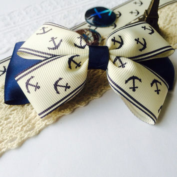 Navy blue hair bow clip-french barrette, fabric, anchor, girls bow