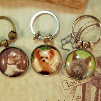 Personalized Pet Photo Key Ring Custom Glass Tile Hissy Fits Key Chain Gift  for Friend Family