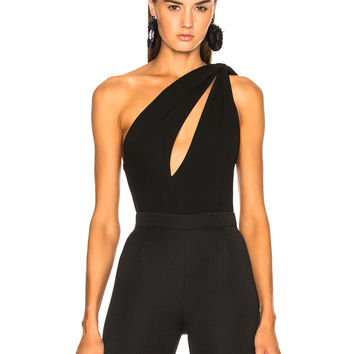 Alexandre Vauthier Stretch Jersey Cutout One Shoulder Bodysuit in Black | FWRD