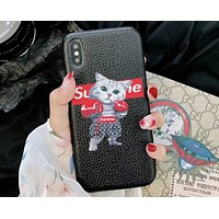LV Louis Vuitton & Supreme Joint Boxing Cat Print iPhone Universal Phone Case F-OF-SJK Black