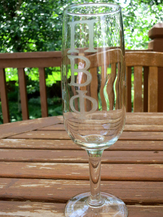 Pi Beta Phi Sorority Etched Champagne Glass
