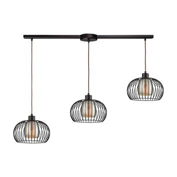 14293/3L Yardley 3 Light Linear Bar Fixture In Oil Rubbed Bronze With Mercury Glass