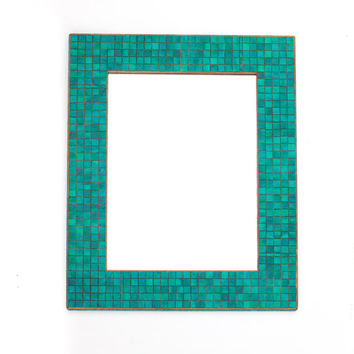 Wall Mirror Handmade Paper Rectangle Turquoise Mosaic Blue Tiles Green Colorful Wood Frame