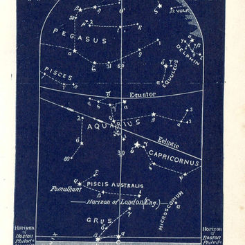 1883  The Sky of October, Set of Four Astronomy Prints, Constellations and Stars, Northern Hemisphere
