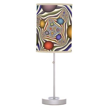 Flying Up, Colorful, Modern, Abstract Fractal Art Table Lamp