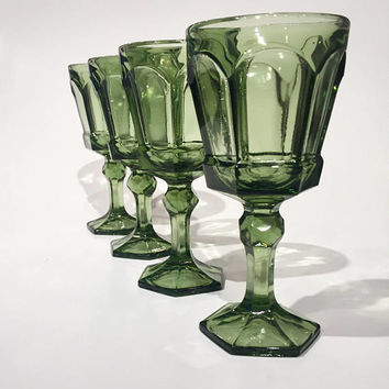 Green Glass Goblets, Fostoria Virginia