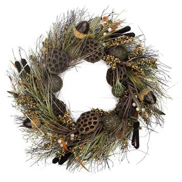 "30"" Dried Lotus Root and Cattail Woodland Harvest Artificial Thanksgiving Wreath - Unlit"