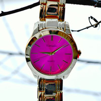 Boyfriend Watch - Fuchsia/Gold