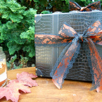 Black And Orange Leather Wedding Suitcase Card Box Holder Fall