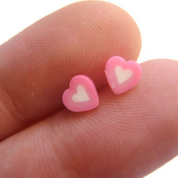 TINY Pink Heart Earrings - Polymer Clay Studs - Pink and White