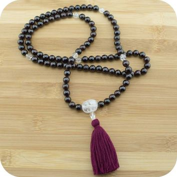 Red Garnet Mala with Ice Quartz Crystal