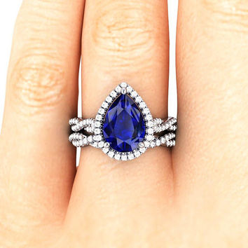 Blue SAPPHIRE Diamond Engagement Ring Diamond Platinum Anniversary Ring, 14k White Gold Promise, Art Deco MATCHING Wedding Band by HALOGLYPH