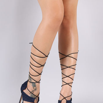 Liliana Denim Ruffled Panels Drawstring Lace-Up Stiletto Heel