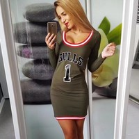 Fashion Multicolor Stripe Letter Print Bodycon Long Sleeve Romper Mini Dress