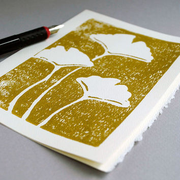 Ginkgo Leaves Notecard Botanical Block Print by CursiveArts