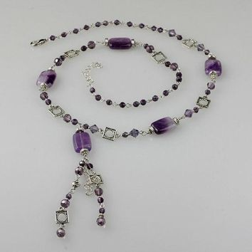 Amethyst long lariat necklace bridesmaids gifts Free US Shipping handmade Anni Designs