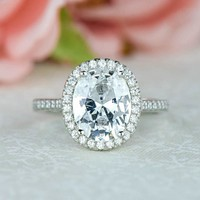 3.25 ctw Oval Halo Engagement Ring – Tiger Gems