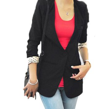 New Fashion Autumn Women Slim Blazer Feminino Coat Casual Jacket Long Sleeve One Button Suit Black Ladies Blazers Work Wear