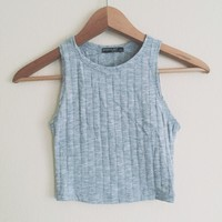 Janessa Ribbed Heather Gray Top