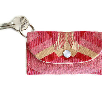Pink ID Keychain Wallet in Art Deco, Student Card Holder and Dorm Room Key Ring, Keychain Cardholder with Free Shipping