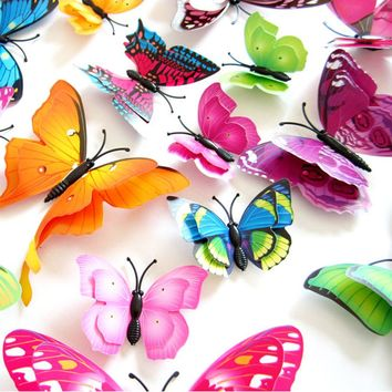 FREE + Shipping 12pcs Mix Size 3D Butterfly Decals Creative Double-Layer Color Butterfly Wall Paste, Stickers
