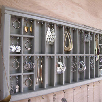 Silvery Grey Printers Drawer Jewelry by HbernationRstoration