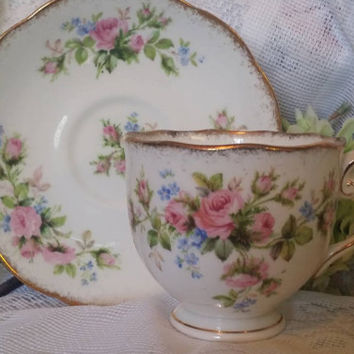 "Vintage Roslyn ""Moss Rose"" Teacup & Saucer,  Roslyn Bone China Teacup and saucer set, Tea Party Set"