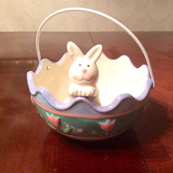 Easter Bunny Basket, Candy Dish Bowl, White Bunny in an Easter Egg, Large Ceramic Painted Decor