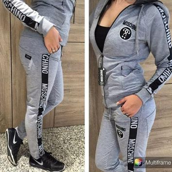 Moschino Zipper Top Sweater Hoodie Pants Trousers Set Two-Piece Sportswear