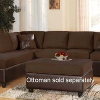 2 pcs Sectional Sofa with Chocolate Cushion Seat and Back Espresso Bycast