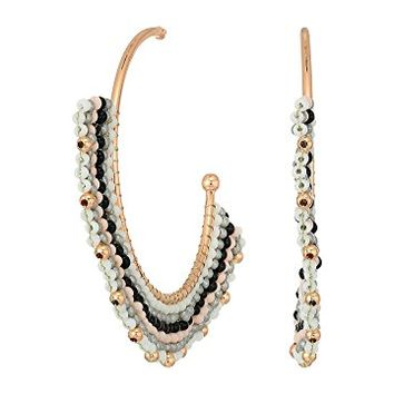 Rebecca Minkoff Striped Seed Beads Hoop Earrings