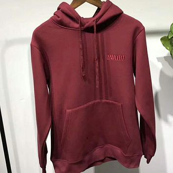 PUMA Women Men Casual Embroidered Letter Long Sleeve Hoodie Top Hooded Pullover Sweater Wine Red I-ZDL-STPFYF