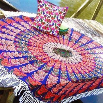 Hippie Round Mandala Tapestry Indian Wall Hanging Retro Printed Throw Beach Shawl And Mat