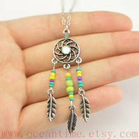 dream catcher necklace,colorful beads necklace,feather necklace,love necklace,friendship necklace,oceantime