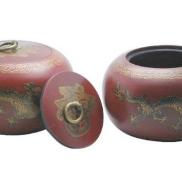 Pair Of 2 Go Game Stones Jujube Bowls Dragon Design '