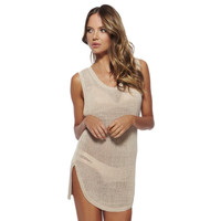 Women's Summer Fashion Sexy Hollow Crochet Scoop Neck Sleeveless Open Back Cover Up Short Beach Dress