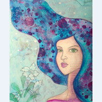 """Signed Print. 5x7 in.Fairy art, portrait illustration, girl painting, mixed media, pastel blue. """"Dreamy hair"""". Cute painting. Mermaid."""