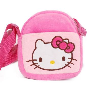 Cute Hello Kitty Little Girl Satchel Mobile Phone Wallet Minnie Mickey Baby Cartoon Plush Backpack Plush Toys Bag Children Gifts