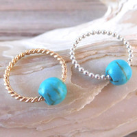 Septum Ring Twisted 14K Gold/Bead 925 Sterling,Nose Ring,Daith piercing ring,cartilage,helix,tragus,ear hoop earring 18g,Turquoise Gemstone