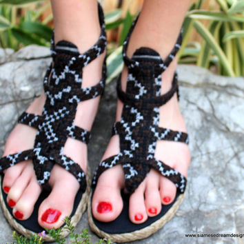 Earthy Womens Gladiator Sandals, Summer Shoes In Brown and Black Hmong Embroidery Isadora